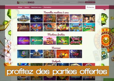 parties offertes sur OnlineBingo